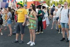 Futbolowy puchar świata, fan fan strefa, festiwal fan Fotografia Royalty Free