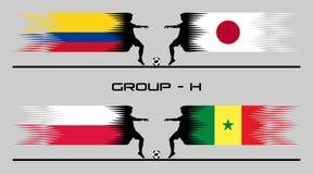 2018 Futbolowych kraj grupy †'H ilustracja wektor