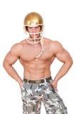 Futbolu amerykańskiego gracz odizolowywający. Obrazy Stock