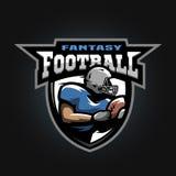 Futbolu amerykańskiego sporta logo Działająca atleta z piłką Fotografia Royalty Free