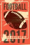 Futbolu amerykańskiego rocznika grunge stylu typographical plakat retro ilustracyjny wektora Fotografia Royalty Free