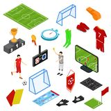 Futbolu lub meczu piłkarskiego ikony Ustawiają Isometric widok wektor ilustracji