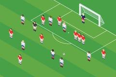 Futbolu, piłki nożnej rzut wolny/ Piłka Na rzutu wolnego punkcie Zdjęcie Royalty Free