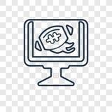 Futbolu tv programa pojęcia wektorowa liniowa ikona odizolowywająca na trans ilustracja wektor