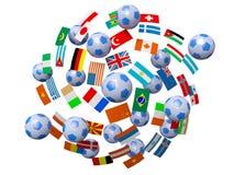 Futebóis e bandeiras ilustração stock