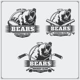Futebol, basebol e logotipos e etiquetas do hóquei Emblemas do clube de esporte com cabeça do urso Foto de Stock Royalty Free