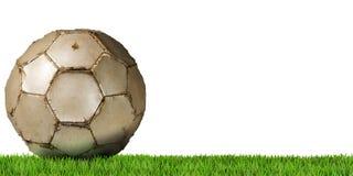 Futebol - bola de futebol com grama verde Imagens de Stock Royalty Free
