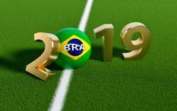 Futebol 2019 - bola de futebol no projeto da bandeira de Brasil em um campo de futebol Bola de futebol que representa o 0 em 2019 ilustração do vetor