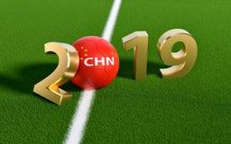 Futebol 2019 - bola de futebol no projeto da bandeira de China em um campo de futebol Bola de futebol que representa o 0 em 2019 ilustração stock