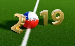 Futebol 2019 - bola de futebol no projeto da bandeira do Chile em um campo de futebol Bola de futebol que representa o 0 em 2019 ilustração royalty free