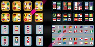 Futebol Campeonato mundial Bandeiras do vetor do país Copo de mundo Gráfico da informação das bandeiras das nações ilustração do vetor
