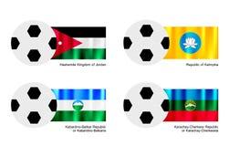 Futebol com Jordânia, Calmúquia, o Kabardino Balkaria e a bandeira de Karachay Cherkessia Imagens de Stock Royalty Free