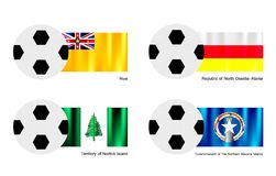 Futebol com Niue, o Ossetia Alania, o Norfolk e não Foto de Stock Royalty Free