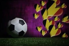 Futebol 2018 Conceito creativo Esfera de futebol na grama verde Conceito da equipe de Bélgica do apoio Foto de Stock Royalty Free