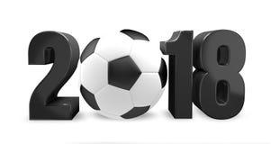futebol 2018 2018 3d rendem o futebol do futebol da bola ilustração do vetor