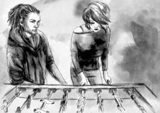Futebol da tabela - uma ilustração tirada mão Pintura de Digitas ilustração do vetor