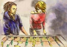 Futebol da tabela - uma ilustração tirada mão Pintura de Digitas ilustração stock