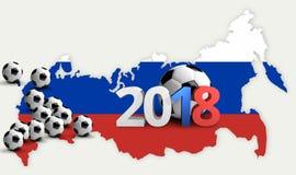 Futebol 2018 de Rússia 3d rendem o futebol do futebol do russo Imagens de Stock