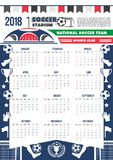 Futebol do futebol do molde do calendário do vetor 2018 Fotos de Stock