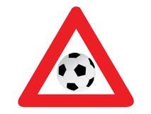 Futebol do sinal de estrada Foto de Stock Royalty Free