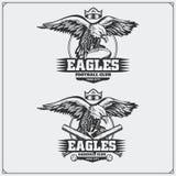 Futebol e logotipos e etiquetas do basebol Emblemas do clube de esporte com águia Imagem de Stock