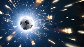Futebol Esfera de futebol O fundo do futebol com fogo acende na ação no preto Foto de Stock Royalty Free