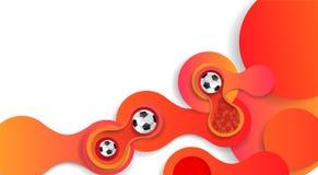 Futebol fundo de 2018 campeonatos do mundo com bolas de futebol ilustração stock