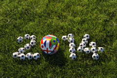 Futebol grama verde de 2014 bolas de futebol das equipes do campeonato do mundo Imagens de Stock Royalty Free
