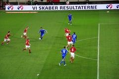 Futebol Greece contra Dinamarca Imagens de Stock Royalty Free