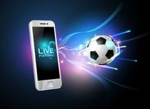 Futebol móvel vivo e telefone celular Fotografia de Stock Royalty Free