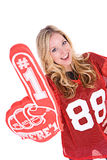 Futebol: Mulher que Cheering com o dedo do número um Fotografia de Stock Royalty Free