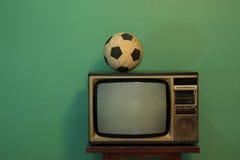 Futebol na tevê Imagem de Stock Royalty Free