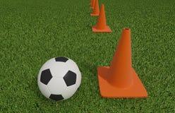 Futebol ou futebol no campo de futebol Fotos de Stock Royalty Free
