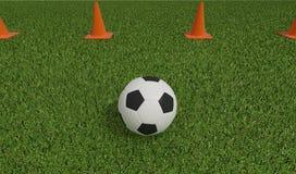 Futebol ou futebol no campo de futebol Fotografia de Stock Royalty Free
