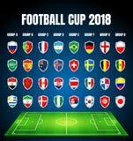 Futebol 2018, qualificação de Europa, todos os grupos ilustração stock