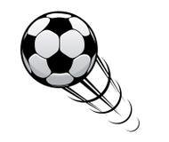 Futebol que apressa-se através do ar Fotos de Stock