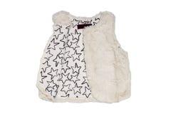 Futerkowej kamizelki Biała futerkowa kamizelka dla dziecko dziewczyn dla wiosny odizolowywającej na białym tle Dziecko moda obraz royalty free