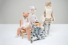 Futerkowy misia pluszowego kota lisów gorsecika sukni rocznika wiktoriański Obraz Royalty Free