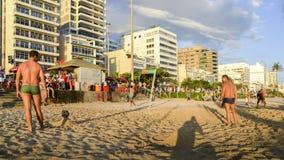 Futevolei na praia em Ipanema, Rio de janeiro, Brasil imagens de stock royalty free