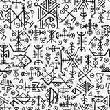 Futhark norse islandic i Viking symbolu bezszwowy wzór Magiczni ręka remisu symbole jako wcześniej przygotowany talizmany powtarz royalty ilustracja