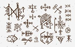 Futhark norse islandic and viking runes set. Magic hand draw symbols as scripted talismans. Vector set of ancient runes. Of Iceland. Galdrastafir, mystic signs vector illustration