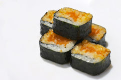 Futomaki rolls. Five futomaki rolls over white Stock Photos