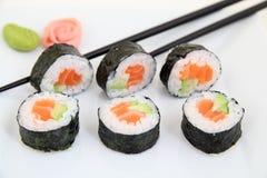 Futomaki, salmon and avocado. Traditional japanese sushi rolls Royalty Free Stock Photos