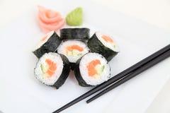 Futomaki, salmon. Traditional japanese sushi rolls Royalty Free Stock Photography