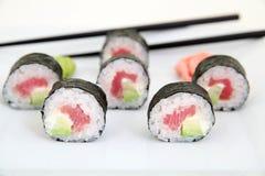 Futomaki, tuna and avocado. Traditional japanese sushi rolls Stock Photos