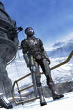 Futristic soldier and mountains with snow Stock Image