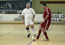 Futsal action. Futsal players pictured in action during an old boys friendly tournament that faced Steaua Bucharest, Dinamo Bucharest, Concordia Chiajna and Stock Photos