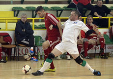 Futsal action. Futsal players pictured in action during an old boys friendly tournament that faced Steaua Bucharest, Dinamo Bucharest, Concordia Chiajna and Royalty Free Stock Photo