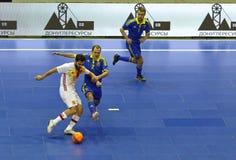 Futsal amistoso: Ucrania v España en Kiev, Ucrania Foto de archivo libre de regalías