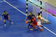 Futsal amistoso: Ucrania v España en Kiev, Ucrania Imagenes de archivo